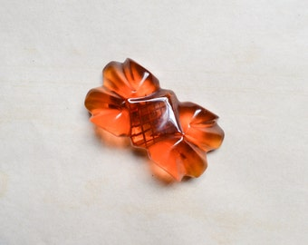 1930s Reverse carved prystal bakelite bow brooch / 30s Catalin pin