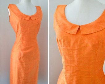 1960s Orange raw silk sleeveless wiggle dress / early 60s evening dress - S