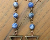 Triangular Blue Earrings
