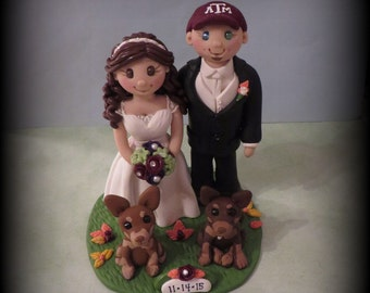 Wedding Cake Topper, Custom Cake Topper, Personalized, Polymer Clay, Bride and Groom with two Pets and Date Plaque, Keepsake