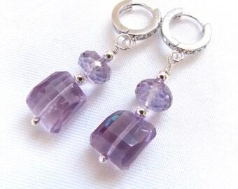 Pink Amethyst Rose De France Faceted Nugget Sterling Silver Pave Hoop Earrings