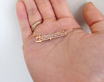Anonymous Name Plate Necklace  // Available in Gold and Silver