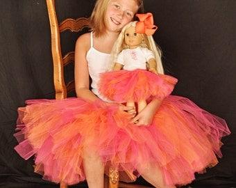 "18"" dolly tutu - doll tutu- american girl tutu - SEWN tutu - pink and orange tutu - dolly and me tutu - full length tutu  made to match tutu"