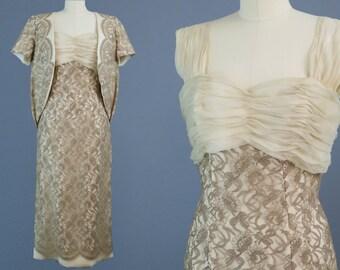 1950s - 60s Lace Dress & Jacket Set / Vintage Courthouse Wedding Dress