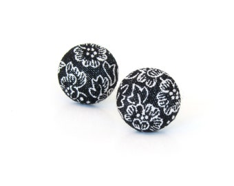 Black stud earrings - black button earrings - black fabric earrings white flower floral elegant romantic