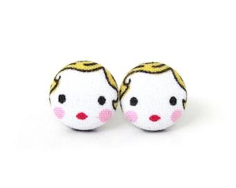 Matryoshka earrings - cute fabric earrings - button earrings - tiny doll babushka - kawaii girl stud earrings - present for her - blonde