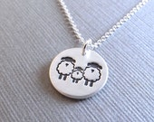 Small Sheep Family Necklace, Mom, Dad, Baby, Two Moms, Two Dads, New Family, Fine Silver, Sterling Silver Chain, Made To Order