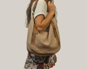 Canvas women shoulder bag in sandy color with tan leather details,named Vera MADE TO ORDER