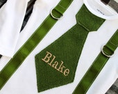 Baby Boy St Patrick's Outfit Tie and Suspenders Personalized Bodysuit w Any Name. Olive Green Herringbone Tan Lettering Baby's 1st Birthday