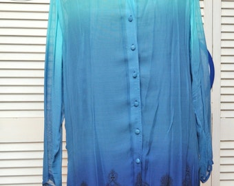 Vintage Sheer Indie Blouse/80s 90s/Color Fade Light Blue to Dark/Long Sleeve/Rayon/Longtail Shirt/Women's/Large/Costume Theater Gothic Phool
