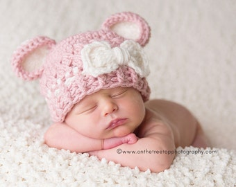 NEWBORN  Baby Girl Hat, 0 to 1 Months Baby Girl Flapper Hat, Rose Pink with Cream Ears, Cream Bow, Photo props, Baby Shower Gift. Kids
