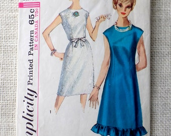 Simplicity 5534 vintage sewing Pattern tent dress shift sack ruffle 1960s Mad Men Bust 32 sash waist