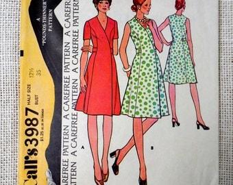 Vintage Pattern McCall's 3987 Bust 35 1970s Mod career Martingale belt wrap dress V neck short sleeve sleeveless secretary executive
