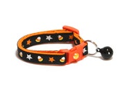 Halloween Cat Collar - Candy Corn and Stars on Black - Kitten or Large Size