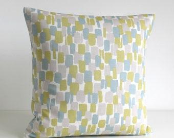 16 Inch Cushion Cover, 16x16 Pillow Cover, Pillow Sham, Pillow Case, Decorative Pillow Cover, Toss Pillows - Scandi Blocks Duck Egg