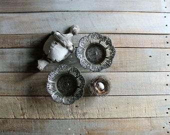 2 Vintage Metal Trinket / Display Dishes