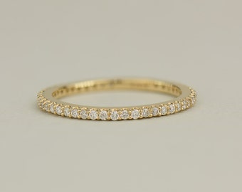 Thin Diamond Band - Solid Gold Full Eternity Diamond Ring in 14k, 18k Yellow Gold. Wedding & Anniversaries. Custom Jewelry Made to Order