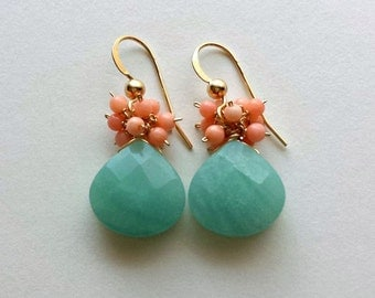 SALE Peach Coral Amazonite Earrings,  Peach Mint Earrings, Mint Coral Earrings, Aqua Peach Dangle:  25% Off