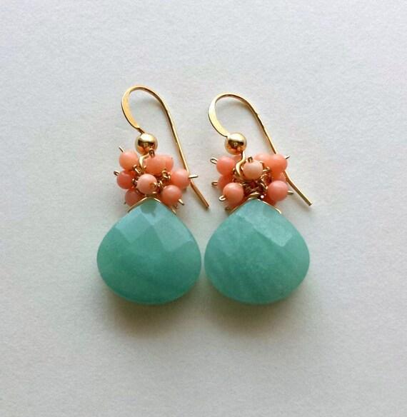 SALE Peach Coral Amazonite Earrings,  Peach Mint Earrings, Mint Coral Earrings, Aqua Peach Dangle:  25% Off