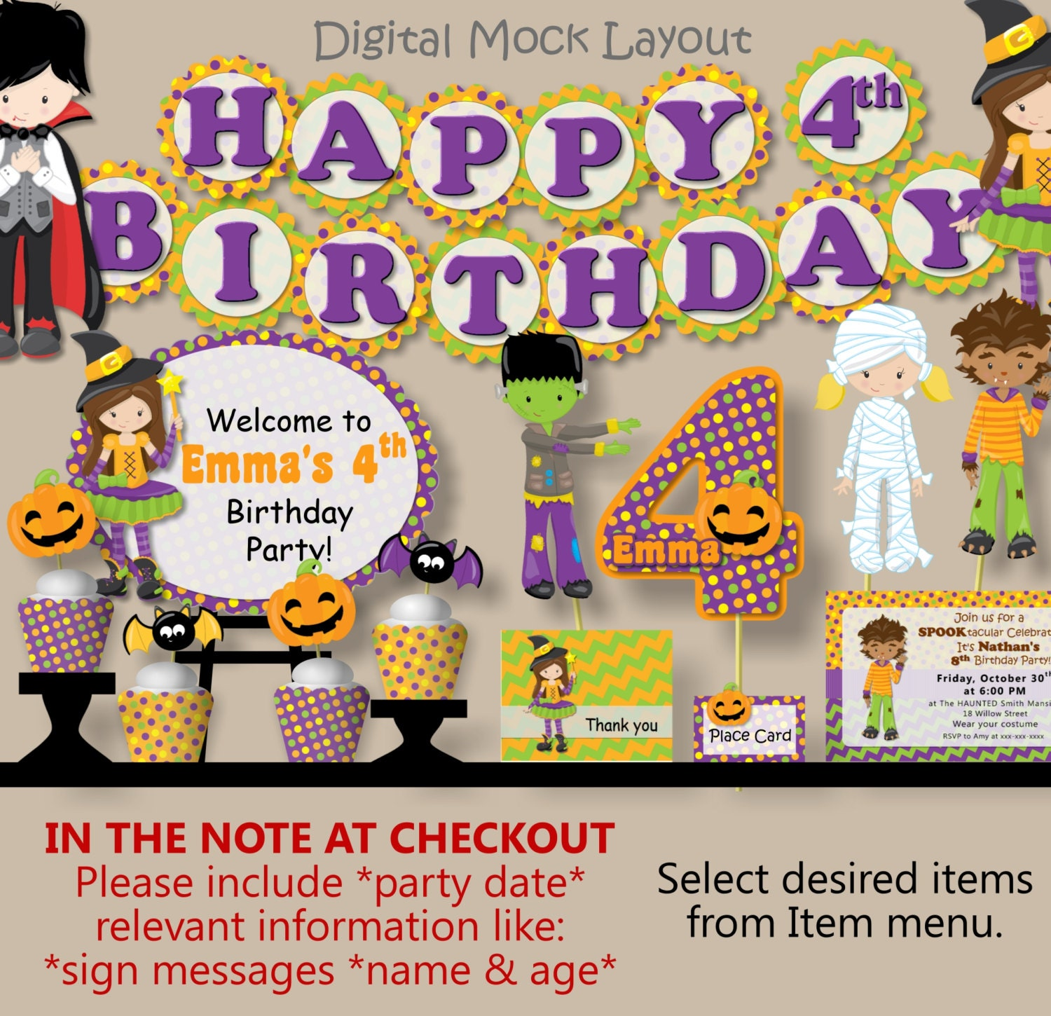 Halloween Decorations Costume Birthday Party Invitation