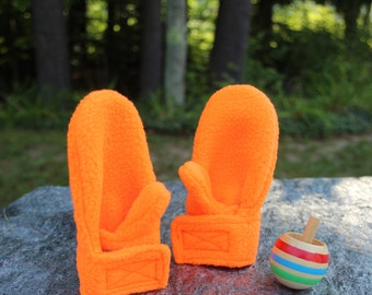 Fleece Mittens | Stay On Wrap Mittens | Blaze Orange Mittens | Baby Boy Mittens | Girl Toddler Mittens