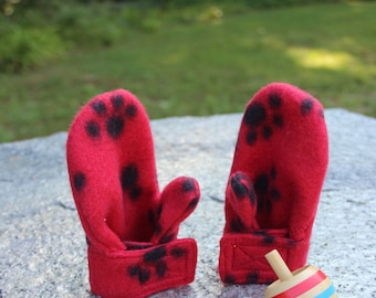 Fleece Stay On Wrap Mittens in Baby and Toddler Sizes With Red Puppy Paw Prints