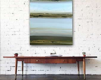 "Large 30"" x 40"" Original Abstract Painting - Contemporary Wall Art Decor - LAKE - blue green water"