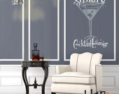 Martini Glass Wall Decal Sticker - Personalized name decal - Cocktail Lounge -  home bar decor