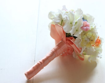 Alternative Wedding Bouquet | Vintage Glass Flowers Pastel Pinks Ivory Hydrangea Hand Made in USA | In Stock Ready To Ship Worldwide 1000673