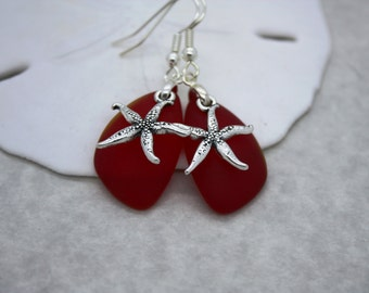 Red Sea Glass Earrings, Star Fish, Starfish Earrings Seaglass Earrings Starfish Jewelry Sea Glass Jewelry Beach Jewelry Seaglass Jewelry 069