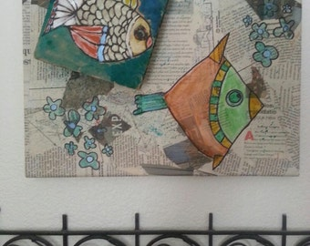 Colorful Fish Handpainted on Newsprint Mixed Media Collage