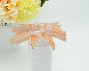 Peach Linen Look Paper Flagged Cocktail Stirrers - 48 count Clear stir sticks
