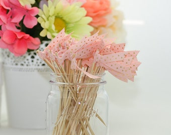 Pale Pink with Gold Foil Polka Dot Ribbon Cocktail Stirrers - 25 count - 6 inch skewers