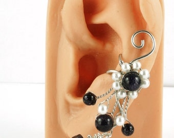 Silver and Blue Goldstone Fairy Ear Cuff with White Glass Pearl Accents - LEFT ear