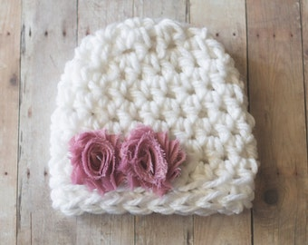 Newborn Hat, Girls Hat, Baby Hat, White and Rose Pink Chunky Beanie Hat, Shabby Chic Flower Hat, Photography Prop
