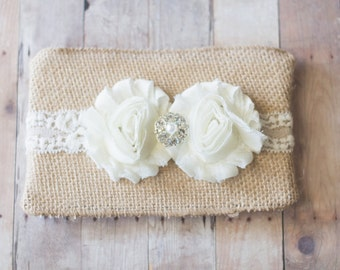 Baby Girl Headband, Lace Headband, Newborn Headband, Cream Flower Headband, Photography Prop, Christening Headband, Baptism Headband
