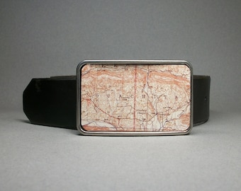 Belt Buckle Arkansas Ouachita National Forest Vintage Map Unique Gift for Men or Women