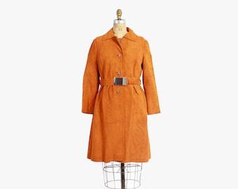 Vintage 60s COAT / 1960s Mod Pumpkin Spice Suede Leather Belted Jacket