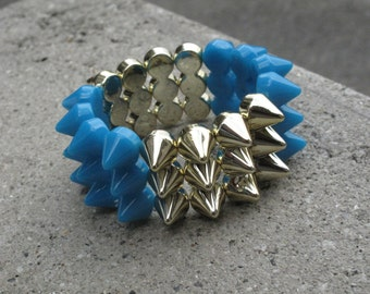 Spiked Rockstar Cuff In Gold and Turquoise