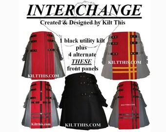 Interchangeable Black 10oz Canvas Utility Kilt plus 4 Red Designer Front Panels Adjustable Custom Fit with Large Expanding Cargo Pockets