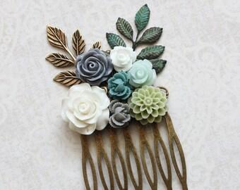 Green Bridal Hair Comb Rustic Woodland Wedding Bridesmaids Gift Aqua Rose Comb Mint Green Dahlia Grey Wedding Hair Piece Boho Chic Summer
