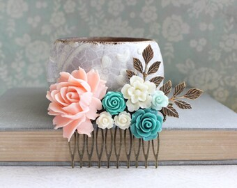 Pink Peach Rose Comb Teal Bridal Hair Comb Country Wedding Romantic Floral Collage Flower Hair Piece Romantic Vintage Style Hair Accessories