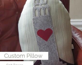 Huggable SF Coit Tower One-of-a-Kind Custom Pillow
