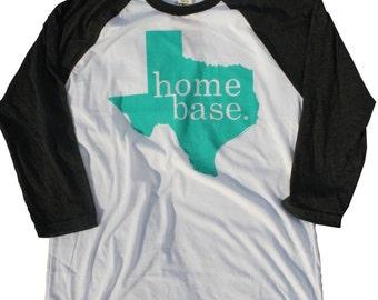 MEDIUM Texas Home Base State Turquoise Baseball T Shirt tee shirt Native Texan Women Womens