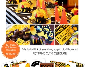 Construction Party Printable   Construction Birthday Decorations   Dump Truck Party   Transportation Party   Amanda's Parties To Go