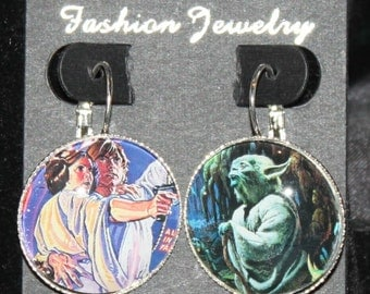 Star Wars Luke Leia Yoda Earrings Silver Drop Comic Book