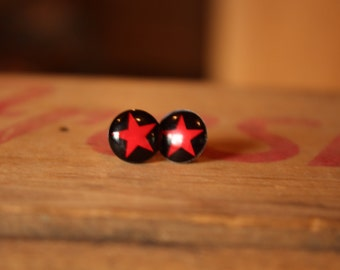 Red Star Stud Earrings