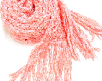 Pink Crocheted Scarf, Womens Accessories, Long Chunky Scarf, Fringed Scarves