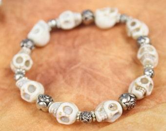 Halloween Day of the Dead Dia de Los Muertos White Howlite Skull Stetchy Bracelet