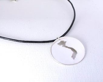 Vietnam Necklace Sterling Silver Vietnam Pendant Silver Map Adoption Jewelry